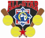 Babe Ruth Softball All-Star Award Pin. Recognize those special All-Star players with this full color enamel trading pin including the Exclusive Trademarked Officially Licensed Softball Logo! Available here ONLY!