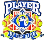 Babe Ruth Softball Player of the Game Award Pin. Recognize the player(s) that had a GREAT game with this NEW full color enamel pin! The player and coach will savor the memory of their special game!