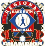 Babe Ruth National Baseball Regional Champion Pins. 1-1/4 Die struck enamel lapel pin with acrylic presentation case.