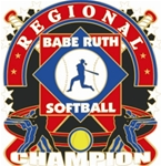 Babe Ruth National Softball Regional Champion Pins. 1-1/4 Die struck enamel lapel pin with acrylic presentation case.