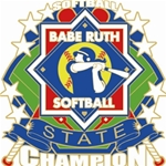 Babe Ruth National Softball State Champion Pins. 1-1/4 Die struck enamel lapel pin with acrylic presentation case.