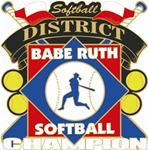Babe Ruth National Softball District Champion Pins. 1-1/4 Die struck enamel lapel pin with acrylic presentation case.