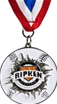 Smash Thru Cal Ripken Baseball Medallion on Red, White & Blue Neck Ribbon