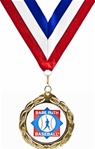 Gold Medallion on Red, White & Blue Neck Ribbon with an Official Licensed Trade Mark.