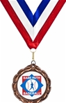 Bronze Medallion on Red, White & Blue Neck Ribbon with an Official Licensed Trade Mark.