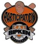 Cal Ripken Baseball Participation Award Pin.  This full color enamel pin is a GREAT end of season award for EVERY player on the team to remember the memory of their participation.  Exclusive Trademarked Officially Licensed League Logo!  Available here ONLY!