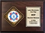 Diamond Plaque Series incorporates a horizontal cherry finish plaque with our exclusive diamond medal. Customize a 2 insert for the medal or choose a stock mylar. Plate can be customized with your text.