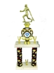 Two tier Softball Award, Softball figurine on top with Trade marked Extreme softball logo, Softball theme columns on a white marble base