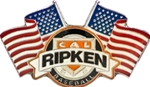 Cal Ripken League Emblem & Crossed USA Flag Trading Pin. Show your loyalty to your league and your patriotism to your country with this full color enamel trading pin. A great way to display your true colors!