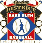 Babe Ruth National Baseball District Champion Pins. 1-1/4 Die struck enamel lapel pin with acrylic presentation case.