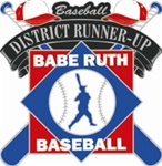 Babe Ruth National Baseball District Runner-Up Pin. 1-1/4 Die struck enamel lapel pin with acrylic presentation case.