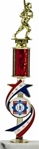 EXCLUSIVE & NEW Red, White & Blue Olympic Star Riser with Round Column & Figure on Base Award Trophy. The Red, White & Blue color of this new award will add patriotic colors to your next awards ceremony! The Gold highlights of this, flowing motion Star design. is a new and unique award designed with the Olympic spirit in mind. Your choice of column color and activity inserts below. Personalization placed on gold tone plate applied to solid real marble base.