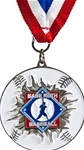 Smash Thru Babe Ruth Baseball Medallion on Red, White & Blue Neck Ribbon