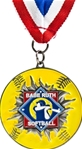 Smash Thru Babe Ruth Softball Medallion on Red, White & Blue Neck Ribbon