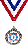Silver Medallion on Red, White & Blue Neck Ribbon with an Official Licensed Trade Mark.