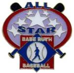 Babe Ruth Baseball All-Star Award Pin.  Recognize those special All-Star players with this full color enamel trading pin including the Exclusive Trademarked Officially Licensed Baseball Logo!  Available here ONLY!