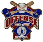 Babe Ruth Baseball Offense Award Pin.  Recognize the player(s) that show their offensive prowess and excellence with this full color enamel pin!  Exclusive Trademarked Officially Licensed League Logo!  Available here ONLY