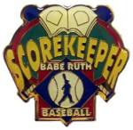 Babe Ruth Baseball Scorekeeper Award Pin.  Show your appreciation & recognize the person(s) that gave their valuable time during the game or season in keeping score.  A great way to say THANKS!  Exclusive Trademarked Officially Licensed League Logo!  Available here ONLY!