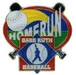 Babe Ruth Baseball Homerun Award  Pin.  Recognize the player(s) that had a dinger.  The player and coach will savor the memory of this special accomplishment with this full color enamel pin!    Exclusive Trademarked Officially Licensed League Logo!  Available here ONLY!!